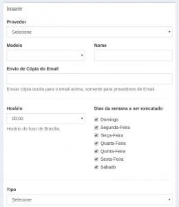 Tela de Configurações de Envio de Mensagens.